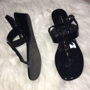 Predictions Black Metal Thong Sandals Wms 7.5